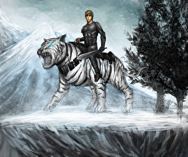Wallpaper Warrior Tiger Magical animals Swords Fantasy