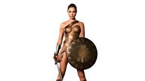 Images Wonder Woman (2017 film) Wonder Woman hero Gal Gadot Warrior White background Shield Swords Movies Girls Celebrities