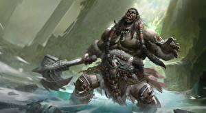 Photo WoW Orc Battle axes Screaming Durotan Games Fantasy
