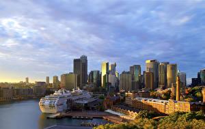 Bilder Australien Haus Bootssteg Schiffe Kreuzfahrtschiff Sydney Bucht