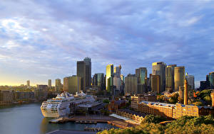 Bilder Australien Haus Bootssteg Schiff Kreuzfahrtschiff Sydney Bucht Städte