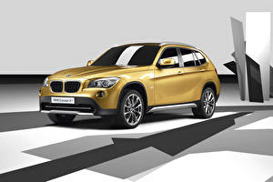 Images BMW Gold color CUV Concept E84 Cars