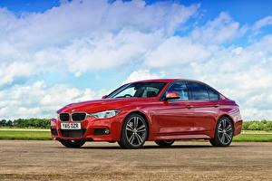Hintergrundbilder BMW Rot Metallisch Limousine F30 2015 3-Series Autos