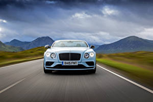 Images Bentley Front Driving Light Blue Convertible 2015 Cars