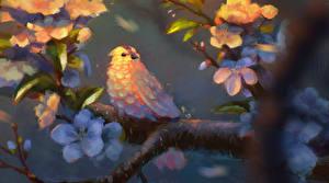 Fotos Vögel Gezeichnet Ast Tiere