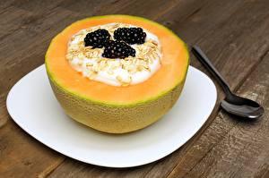 Hintergrundbilder Brombeeren Melone Joghurt Frühstück