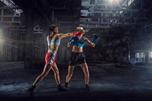 Bakgrunnsbilder Boksing To 2 Uniform Fysisk trening Slår Unge_kvinner Sport