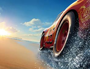 Bureaubladachtergronden Cars 3 Close-up Rood Een wiel Lightning McQueen Cartoons
