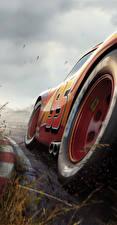 Desktop hintergrundbilder Cars 3 Nahaufnahme Rot Räder Lightning McQueen Zeichentrickfilm