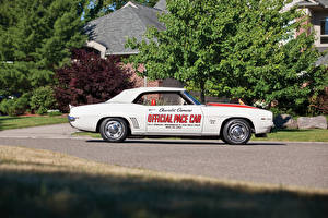 Wallpaper Chevrolet Vintage White Side 1969 Camaro RS-SS 350 Z11 Convertible Indy 500 Pace Car Replica auto