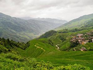 Sfondi desktop Cina Paesaggio La casa Campo agricolo La collina Longji Rice Terraces Pingan Village Natura