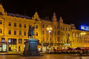 Hintergrundbilder Zagreb Kroatien Gebäude Abend Denkmal Straßenlaterne