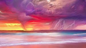 Fotos Küste Gezeichnet Naturkraft Blitz Gewitterwolke