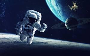 Bureaubladachtergronden Ruimtevaarder Planeet oppervlak
