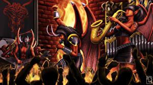 Tapety na pulpit Elfy Demon Mikrofonem Gitara Koncercie Satan's Big Band Fantasy