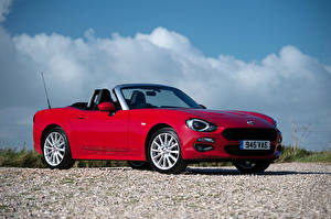 Fondos de escritorio Fiat Rojo Metálico Descapotable 2016 124 Spider automóviles