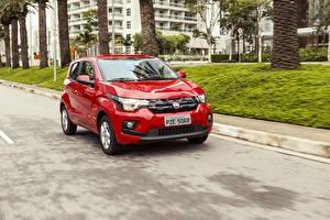 Fondos de escritorio Fiat Rojo Metálico Movimiento 2017 Mobi Drive GSR automóvil