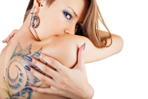 Image Fingers Human back Tattoos Hands White background Girls