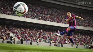 Fotos Fußball Lionel Messi Ball Schlag Fifa 16 barca computerspiel 3D-Grafik