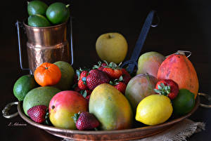 Image Fruit Lemons Mango Strawberry Black background Food