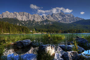 Wallpapers Germany Lake Mountain Forest Stone Landscape photography Alps Lake Eib Nature