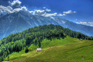 Wallpapers Germany Mountains Forests Meadow Landscape photography HDRI Ramsau Nature