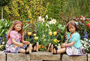 Wallpaper Parks Tulips Daffodils Doll Little girls 2 Sit Grugapark Essen Nature