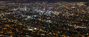 Pictures Building Japan Megalopolis Night time From above Hokkaido Cities