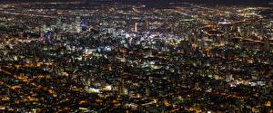 Fondos de Pantalla Edificio Japón Megalópolis Noche Desde arriba Hokkaido Ciudades