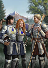 Bakgrunnsbilder Bokillustrasjoner Kriger Menn Rustning Trio In Armour