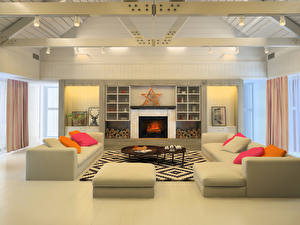 Wallpapers Interior Design Living room Couch Fireplace Ceiling 3D Graphics