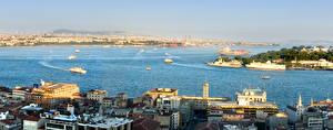 Hintergrundbilder Istanbul Türkei Haus Bootssteg Schiff Bucht Städte