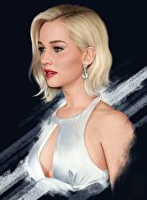 Pictures Jennifer Lawrence Painting Art Blonde girl Beautiful Celebrities Girls