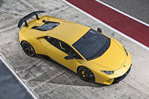 Image Lamborghini Yellow From above 2017 Huracan Performante Cars