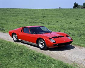 Fotos Lamborghini Antik Rot Metallisch 1967-68 Miura P400 Bertone