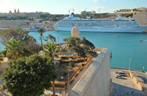 Fotos Malta Seebrücke Kreuzfahrtschiff Bucht Valetta Städte