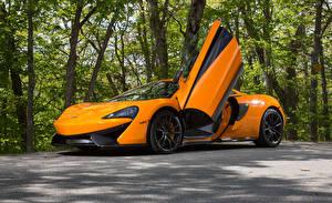 Hintergrundbilder McLaren Orange Offene Tür 570S Autos