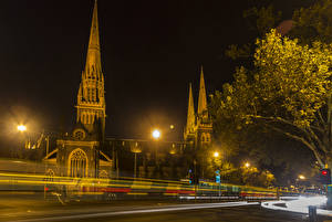 Pictures Melbourne Australia Houses Night time Street lights Cities