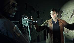 Wallpaper Men Assault rifle Battlefield Hardline 2 Special Weapons Assault Team Games 3D_Graphics
