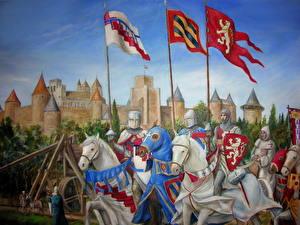Bilder Mittelalter Ritter Pferd Gezeichnet Rüstung Fantasy