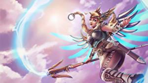 Picture Overwatch Fanart Mage Staff Mercy, Valkyrie Games Fantasy Girls