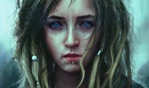 Bilder Gezeichnet Gesicht Haar Starren Trauriges Piercing junge Frauen