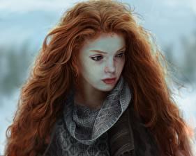 Hintergrundbilder Gezeichnet Rotschopf Haar Schöner junge Frauen