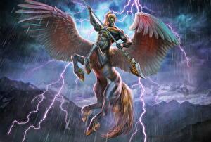Hintergrundbilder Regen Pegasos Zentaur Flügel Speer Blitz Pegasuscentaur Fantasy