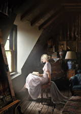 Pictures Antique Interior Window Frock Sitting Fantasy