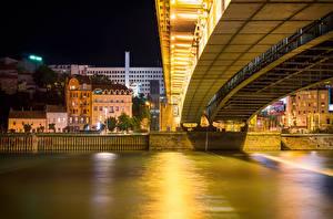 Wallpapers River Building Bridges Belgrade Serbia Night time