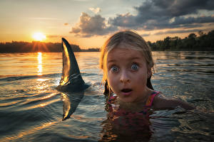 Photo Rivers Sunrises and sunsets Sharks Water Little girls Fear Face Children