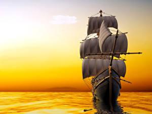 Fotos Segeln Meer Sonnenaufgänge und Sonnenuntergänge Schiffe