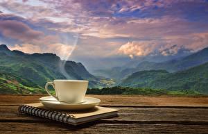 Hintergrundbilder Landschaftsfotografie Kaffee Gebirge Tasse Dampf Notizblock Natur