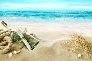 Hintergrundbilder Meer Küste Flasche Sand Strand Brief Natur